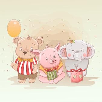 O urso bonito do bebê, o leitão e o elefante comemoram o natal e obtêm presentes