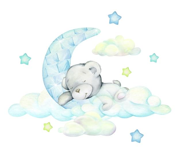 O urso branco dorme na lua e nas nuvens. conceito de aquarela isolado