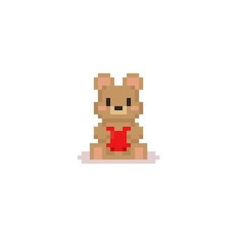 O urso do pixel abraça o coração vermelho. valentim 8bit.