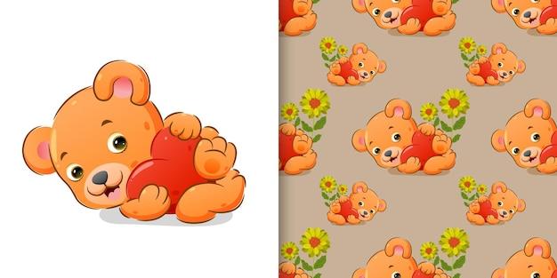 O urso está abraçando um grande coração colorido com a mão em um conjunto de padrões