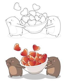 O urso kawaii está levantando uma tigela de desenho de coração facilmente para colorir