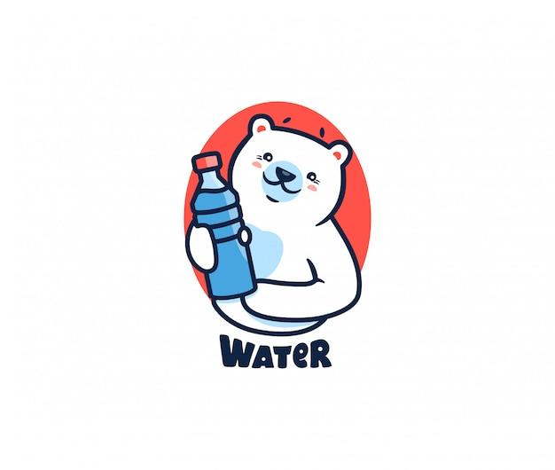 O urso polar com logotipo de água. logotipo com letras, animal engraçado