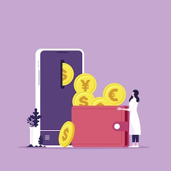 O usuário está recebendo dinheiro em seu smartphone