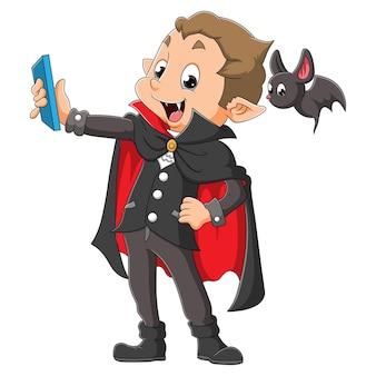 O vampiro está tirando uma selfie com o bastão da ilustração