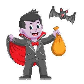 O vampiro está usando o manto e segurando o saco dourado ao lado do bastão da ilustração