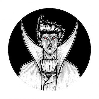 O vampiro, ilustração de mão desenhada