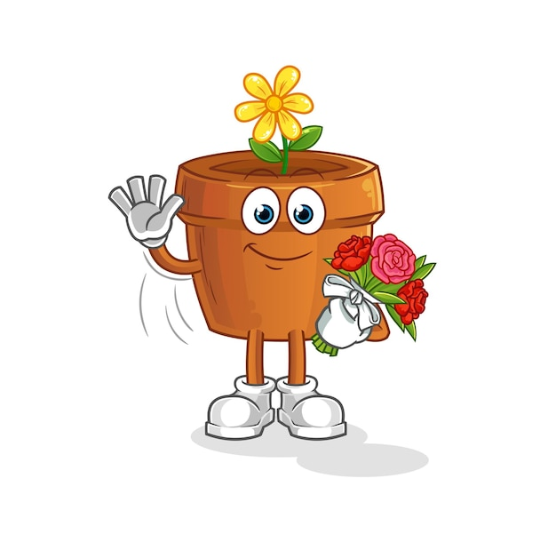 O vaso de flores com mascote do buquê. desenho animado
