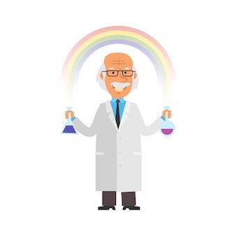 O velho professor segura tubos de ensaio e sorri contra o fundo de personagens do vetor de arco-íris