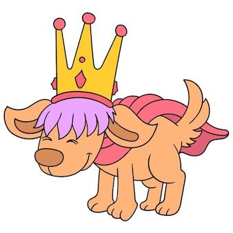 O velho rei do cão é coroado de ouro com uma cara sábia, arte de ilustração vetorial. imagem de ícone do doodle kawaii.