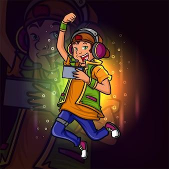 O vencedor do projeto de ilustração do logotipo do gamer boy esport