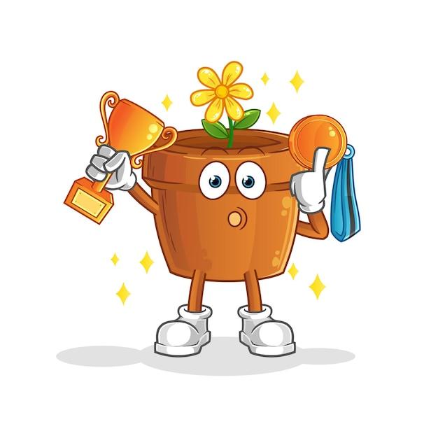 O vencedor do vaso de flores com troféu. mascote dos desenhos animados mascote dos desenhos animados