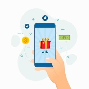 O vencedor ganhou o dinheiro e o presente na ilustração do aplicativo