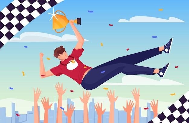 O vencedor lançou uma composição plana com bandeiras quadriculadas e mãos humanas jogando um homem feliz segurando uma ilustração do copo de ouro