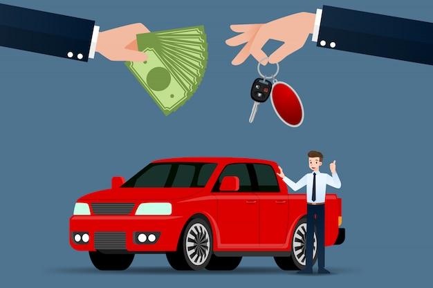 O vendedor de carros faz uma troca entre o carro da picape.