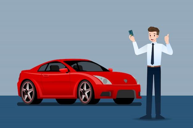 O vendedor fica na frente de um carro.