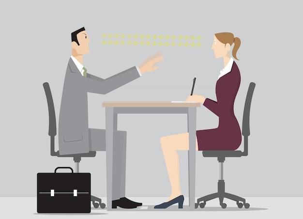 O vendedor hyonotist. vendedor hipnotiza a mulher para fazê-la assinar contrato.