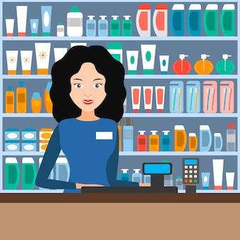 O vendedor na loja de cosméticos e cuidado pessoal