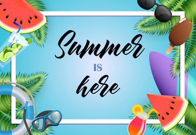O verão está aqui design de cartaz brilhante. sorvete, máscara de mergulho