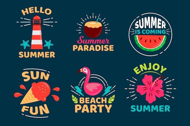 O verão está chegando coleção de distintivos de design plano