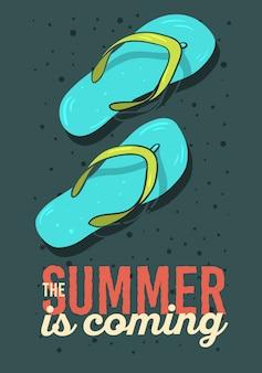 O verão está chegando design de cartaz com ilustrações de mão desenhada de sapatos de praia chinelos chinelos. gráfico de vetor.