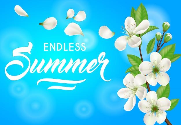 O verão infinito, bandeira com árvore de maçã floresce no fundo dos azul-céu.