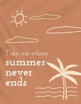 O verão nunca termina banner de mídia social editável de tema de férias de vetor