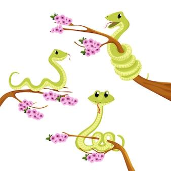 O verde bonito dos desenhos animados sorri a ilustração do animal do vetor da serpente.