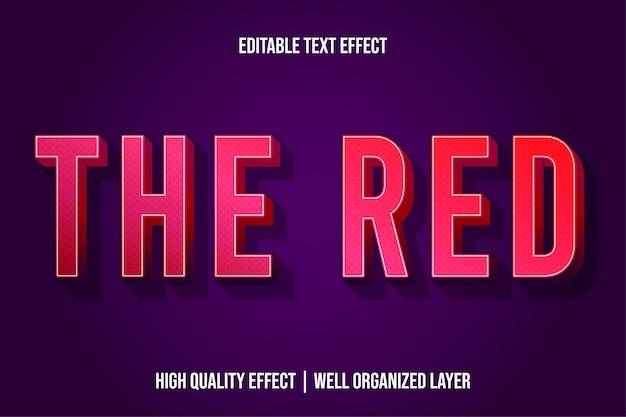 O vermelho, efeito de texto em estilo 3d