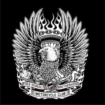 O vetor da águia segura o pistão, a chave e o pneu da motocicleta personalizada