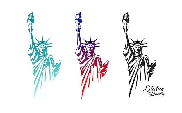 O vetor da estátua da liberdade no projeto colorido da coleção dos estados unidos isolado