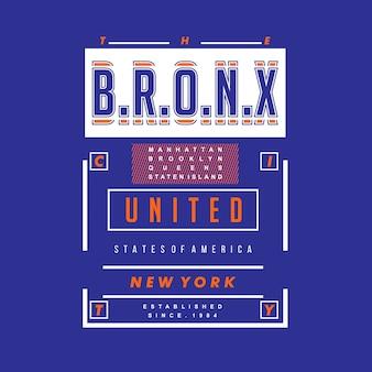 O vetor de design de camisa de t gráfico de bronx