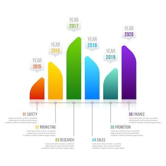O vetor de design de infográfico de gráfico de barras pode ser usado para layout de fluxo de trabalho, diagrama, relatório anual, design de web. conceito de negócio com 6 opções, etapas ou processos.