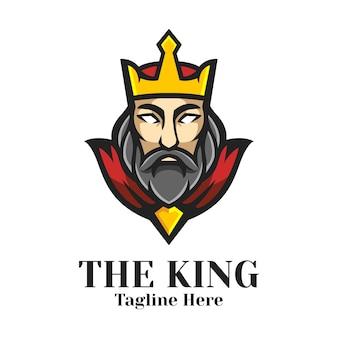 O vetor de design de logotipo do mascote rei