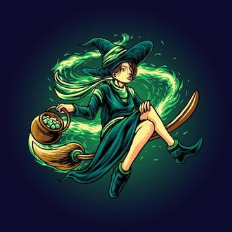 O vetor de ilustração de bruxa voadora