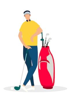 O vetor de jogador de golfe relax