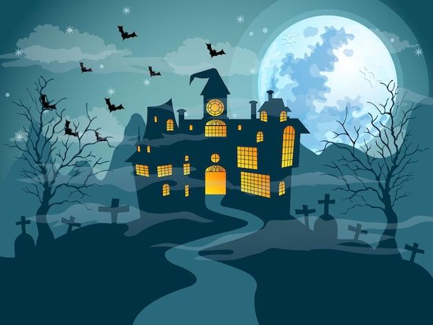 O vetor do dia do dia das bruxas da noite da lua