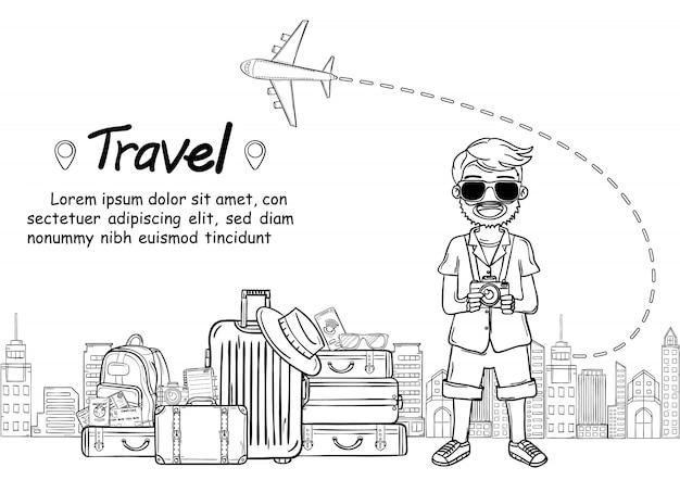 O viajante bonito dos desenhos animados do homem da tração da mão da garatuja, viaja em todo o mundo o conceito. sorteio de mão,