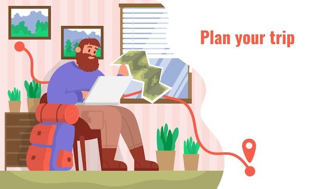 O viajante se senta em casa e planeja sua viagem. conceito de caminhada ao ar livre. vetor plano colorido dos desenhos animados