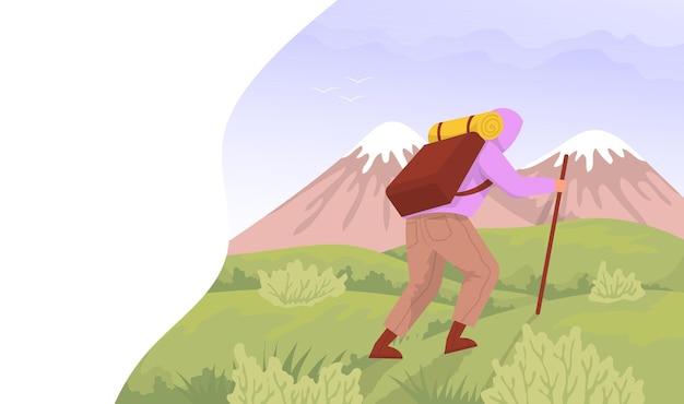 O viajante sobe nas montanhas conceito para caminhadas ao ar livre ilustração em vetor plana colorida dos desenhos animados