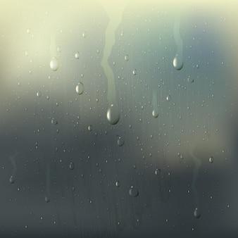 O vidro molhado misted colorido deixa cair a composição realística com manchas da chuva na janela