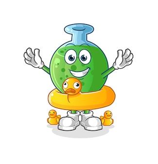 O vidro químico com mascote do personagem de boia de pato