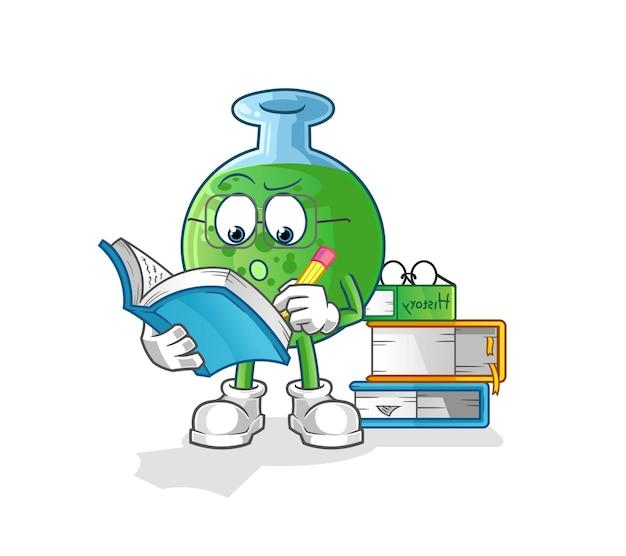 O vidro químico estudando mascote do desenho animado