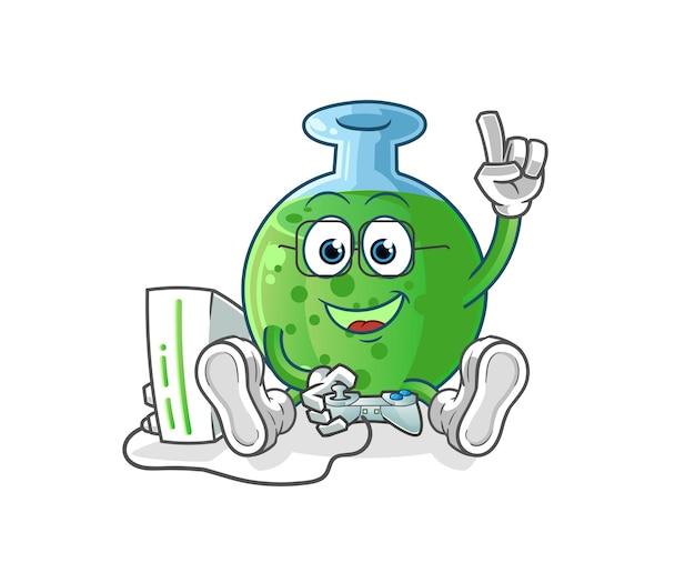 O vidro químico jogando videogame. mascote dos desenhos animados mascote dos desenhos animados