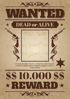 O vintage quis o poster ocidental com espaço em branco para a foto criminosa. maquete de vetor