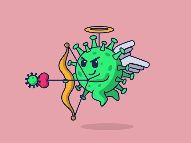 O vírus corona atua como ilustração do conceito do valentim cupido