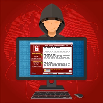 O virus malware ransomware wannacry criptografou seus arquivos e requer dinheiro