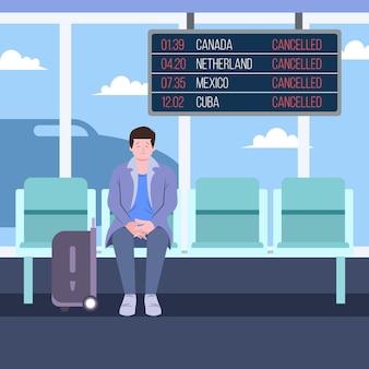 O voo cancelado anuncia o design