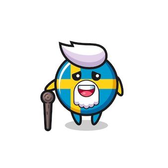 O vovô bonito com o emblema da bandeira da suécia está segurando um pedaço de pau, design de estilo fofo para camiseta, adesivo, elemento de logotipo