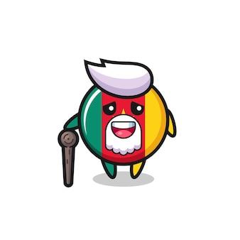O vovô bonito com o emblema da bandeira dos camarões está segurando um pedaço de pau, design de estilo fofo para camiseta, adesivo, elemento de logotipo