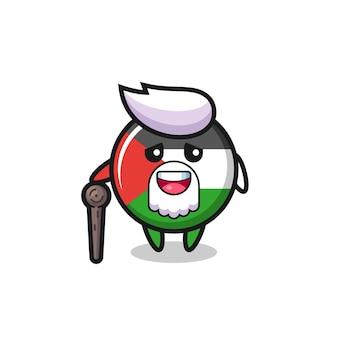 O vovô bonito do distintivo da bandeira da palestina está segurando um pedaço de pau, design de estilo fofo para camiseta, adesivo, elemento de logotipo